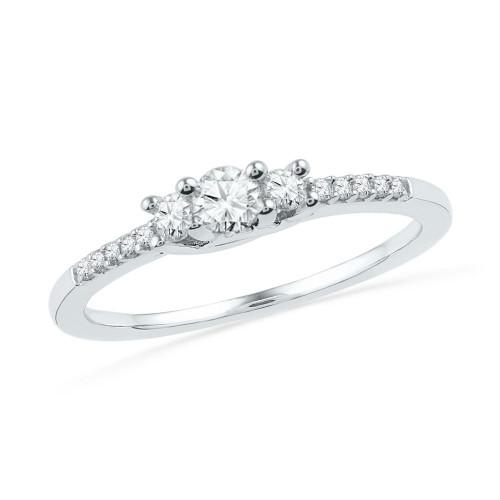 10kt White Gold Womens Round Diamond 3-stone Bridal Wedding Engagement Ring 1/4 Cttw - 100897-8.5