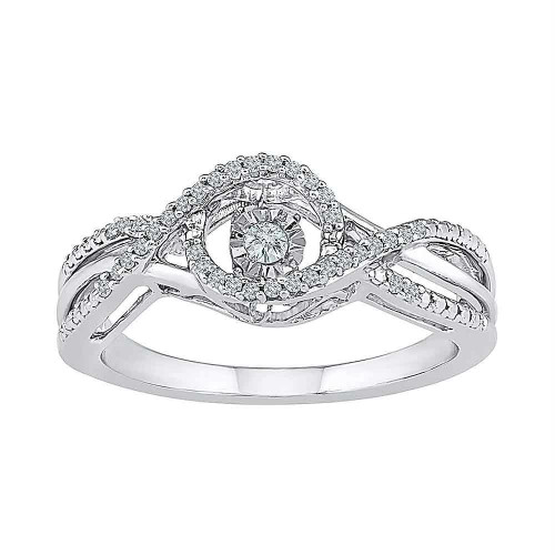 10kt White Gold Womens Round Diamond Moving Twinkle Solitaire Bridal Wedding Engagement Ring 1/6 Cttw