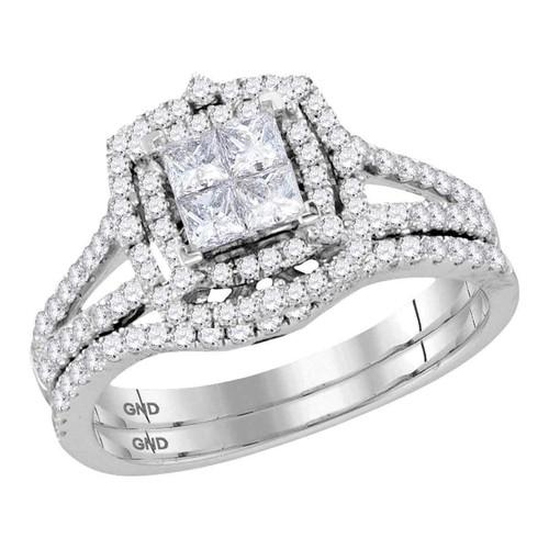 14kt White Gold Womens Princess Diamond Halo Bridal Wedding Engagement Ring Band Set 1.00 Cttw - 116733