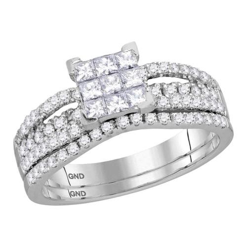 14kt White Gold Womens Princess Diamond Cluster Bridal Wedding Engagement Ring Band Set 1.00 Cttw - 116727