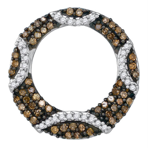 10kt White Gold Womens Round Cognac-brown Color Enhanced Diamond Stripe Circle Pendant 3/8 Cttw