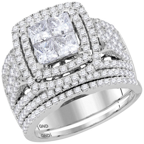 14kt White Gold Womens Princess Diamond Cluster Halo Bridal Wedding Engagement Ring Band Set 3.00 Cttw