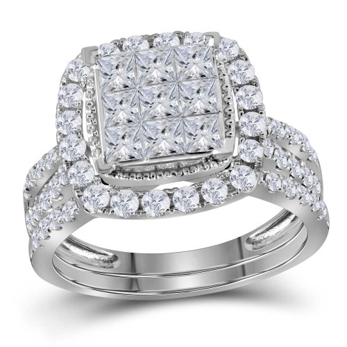 14kt White Gold Womens Princess Diamond Halo Bridal Wedding Engagement Ring Band Set 1-3/4 Cttw