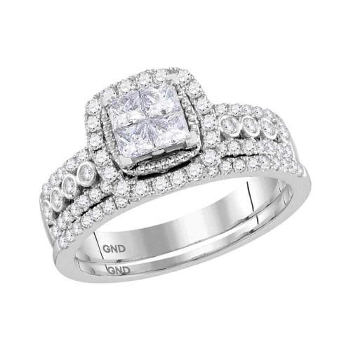 14kt White Gold Womens Princess Diamond Halo Bridal Wedding Engagement Ring Band Set 1.00 Cttw - 116748