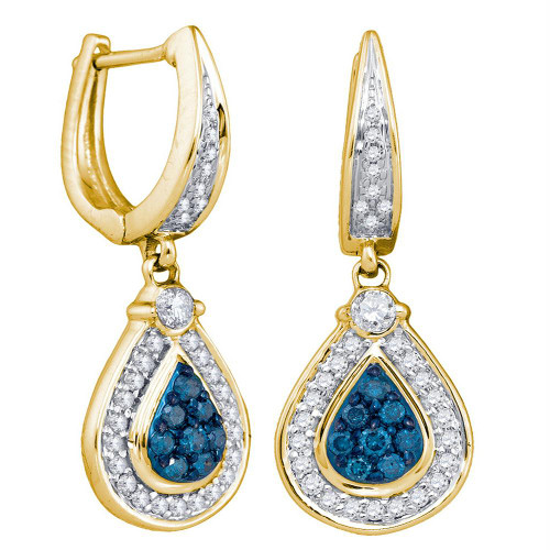 10kt Yellow Gold Womens Round Blue Color Enhanced Diamond Teardrop Dangle Earrings 1/2 Cttw - 75878