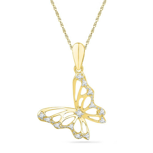 10kt Yellow Gold Womens Round Diamond Butterfly Bug Pendant 1/12 Cttw