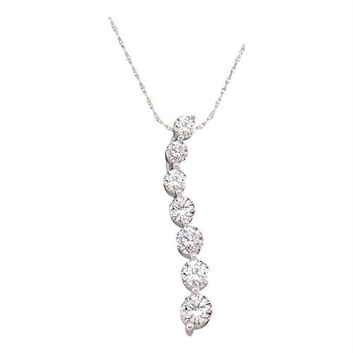 14k White Gold Round Diamond Womens Journey Love Anniversary Pendant 1/4 Cttw