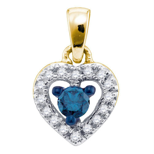 10kt Yellow Gold Womens Round Blue Color Enhanced Diamond Heart Love Pendant 1/5 Cttw - 75854