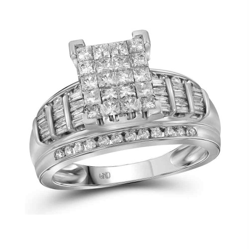 10kt White Gold Womens Princess Diamond Cluster Bridal Wedding Engagement Ring 2.00 Cttw - Size 10