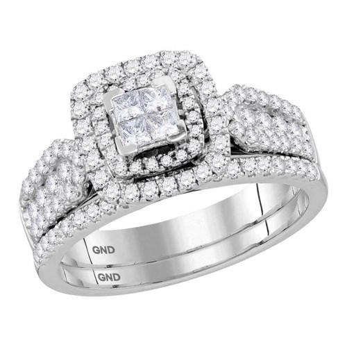 14kt White Gold Womens Princess Diamond Cluster Halo Bridal Wedding Engagement Ring Band Set 1.00 Cttw