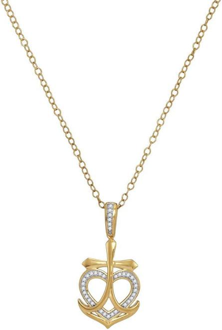 10kt Yellow Gold Womens Round Diamond Heart Cross Anchor Pendant 1/10 Cttw