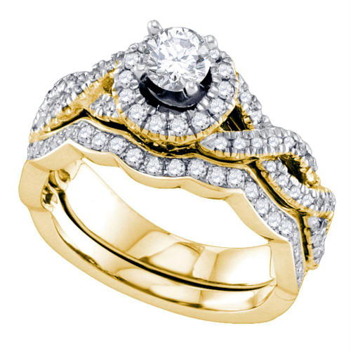 14kt Yellow Gold Womens Round Diamond Twist Halo Bridal Wedding Engagement Ring Band Set 1.00 Cttw
