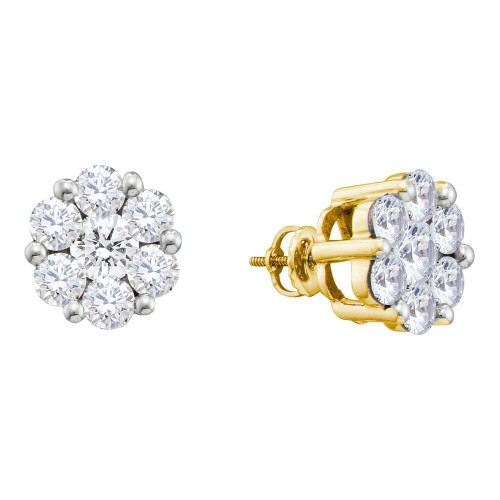 14kt Yellow Gold Womens Round Diamond Flower Cluster Screwback Stud Earrings 2.00 Cttw