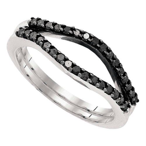 10kt White Gold Womens Round Black Color Enhanced Diamond Ring Guard Wrap Solitaire Enhancer 1/3 Cttw