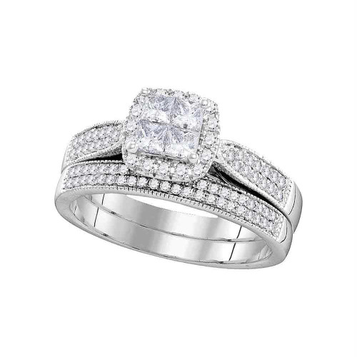 14kt White Gold Womens Princess Diamond Cluster Halo Bridal Wedding Engagement Ring Band Set 3/4 Cttw