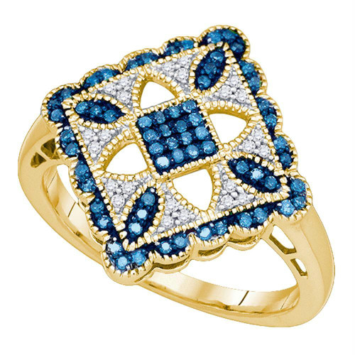 10kt Yellow Gold Womens Round Blue Color Enhanced Diamond Square Cluster Ring 1/4 Cttw