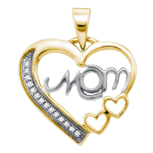 Sterling Silver White Diamond Mom Mothers Womens Heart Love Yellow-tone Pendant 1/20 Cttw