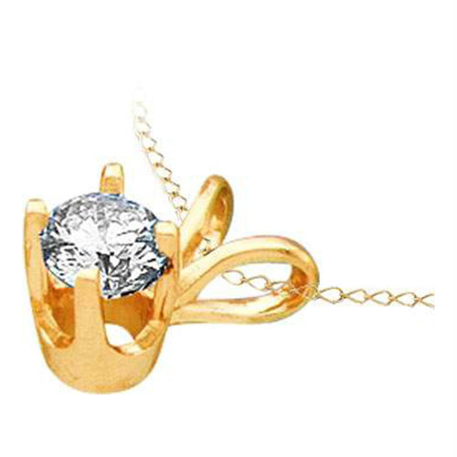 14kt Yellow Gold Womens Round Diamond Solitaire Pendant 1.00 Cttw
