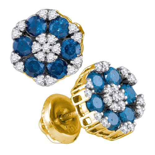 10kt Yellow Gold Womens Round Blue Color Enhanced Diamond Cluster Screwback Earrings 1.00 Cttw