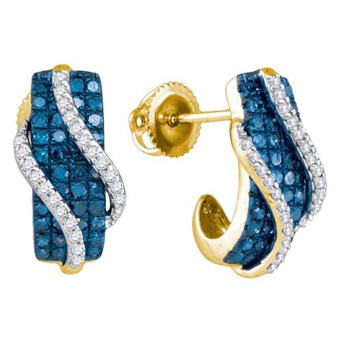 10kt Yellow Gold Womens Round Blue Color Enhanced Diamond Half J Hoop Earrings 1.00 Cttw
