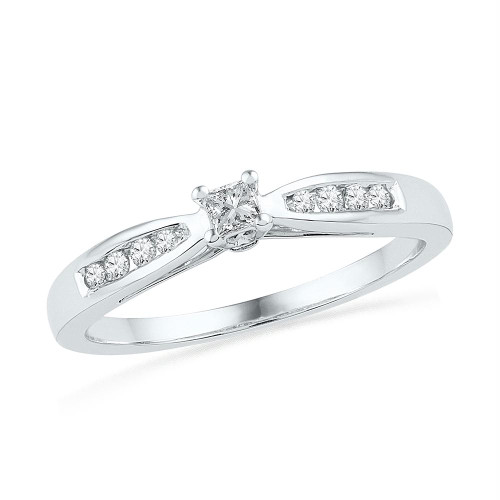 10kt White Gold Womens Round Diamond Solitaire Promise Bridal Ring 1/5 Cttw - 100768-9.5