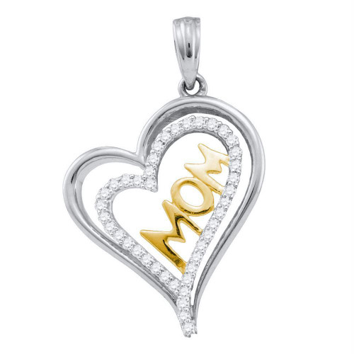 10kt Two-tone Gold Womens Round Diamond Mom Mother Heart Pendant 1/5 Cttw