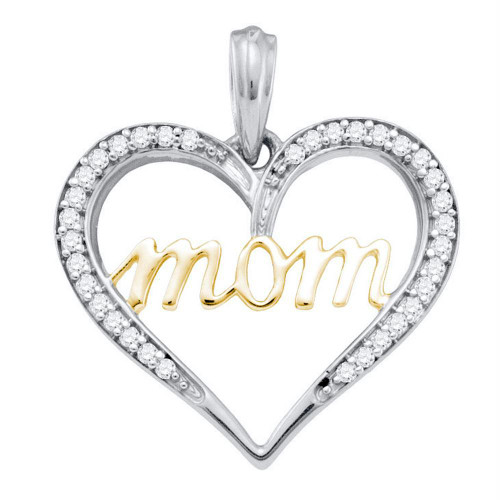 10k White Gold Diamond Mom Mother Heart Love 2-tone Yellow-tone Pendant 1/10 Cttw