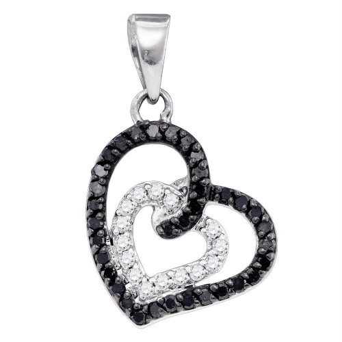10k White Gold Black Color Enhanced Round Pave-set Diamond Womens Open-Center Heart Pendant 1/3 Cttw