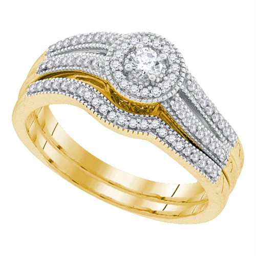 10kt Yellow Gold Womens Round Diamond Bridal Wedding Engagement Ring Band Set 1/3 Cttw - 91847-5.5