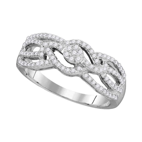 10kt White Gold Womens Round Diamond Woven Strand Cluster Band Ring 1/3 Cttw