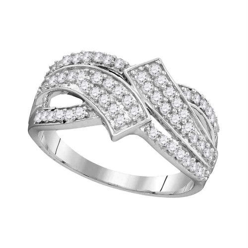 10kt White Gold Womens Round Diamond Bypass Crossover Band Ring 1/2 Cttw