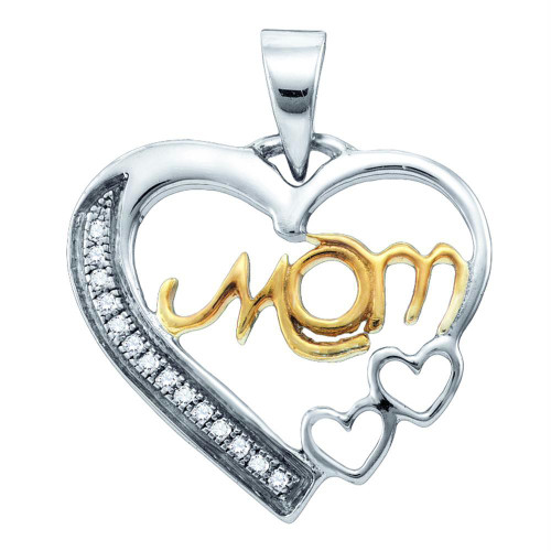 Sterling Silver Yellow-tone Womens Round Diamond Mom Mother Heart Pendant 1/20 Cttw