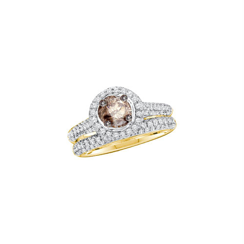 14kt Yellow Gold Womens Round Cognac-brown Color Enhanced Diamond Bridal Wedding Engagement Ring Set Size 5