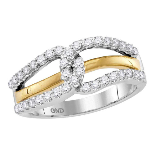 10kt Two-tone White Yellow Gold Womens Round Diamond Lasso Loop Band Ring 1/2 Cttw