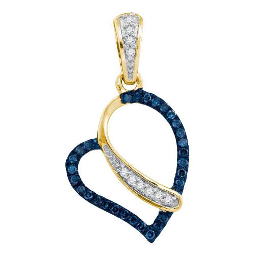 10kt Yellow Gold Womens Round Blue Color Enhanced Diamond Heart Love Pendant 1/8 Cttw - 91976