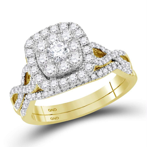 14kt Yellow Gold Womens Round Diamond Halo Bridal Wedding Engagement Ring Band Set 1.00 Cttw - 118474