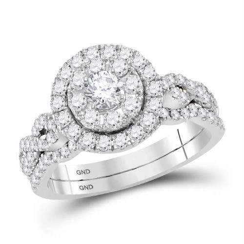 14kt White Gold Womens Round Diamond Twist Bridal Wedding Engagement Ring Band Set 1.00 Cttw