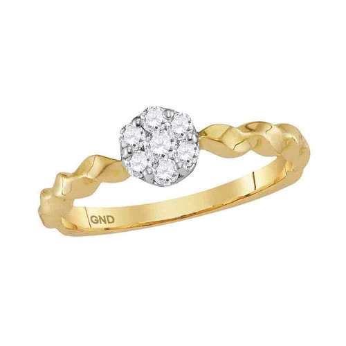 10kt Yellow Gold Womens Round Diamond Flower Cluster Stackable Band Ring 1/4 Cttw