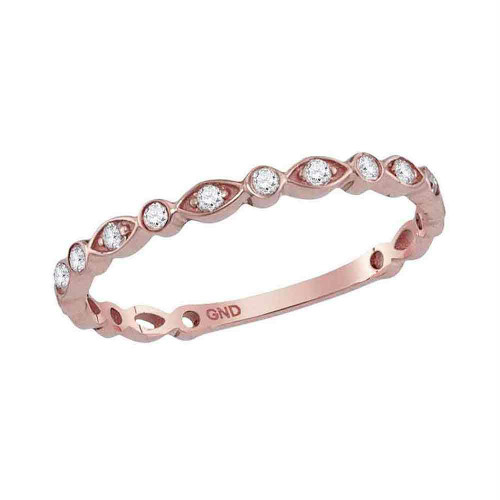 10kt Rose Gold Womens Round Diamond Stackable Band Ring 1/8 Cttw