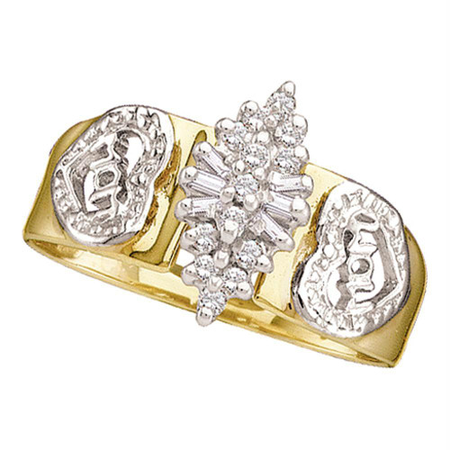 10kt Yellow Gold Womens Round Diamond Mom Mother Ring 1/8 Cttw