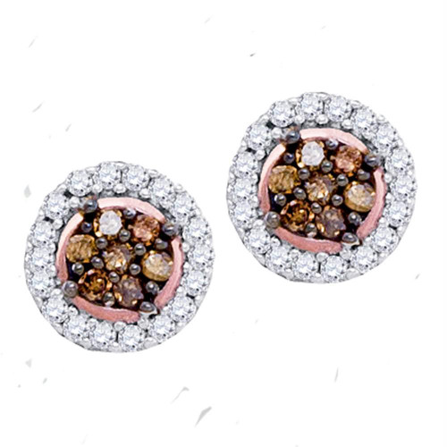 10k Rose Gold Womens Cognac-brown Color Enhanced Diamond Flower Cluster Screwback Stud Earrings 1/4 Cttw
