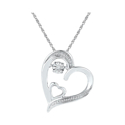 Sterling Silver Womens Round Diamond Double Heart Moving Twinkle Pendant .01 Cttw