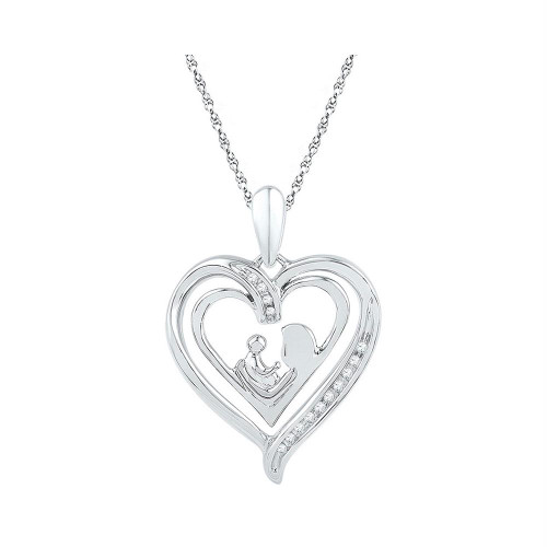 Sterling Silver Womens Round Diamond Mom Mother Child Heart Pendant 1/20 Cttw
