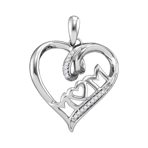 Sterling Silver Womens Round Diamond Mom Mother Heart Pendant 1/20 Cttw