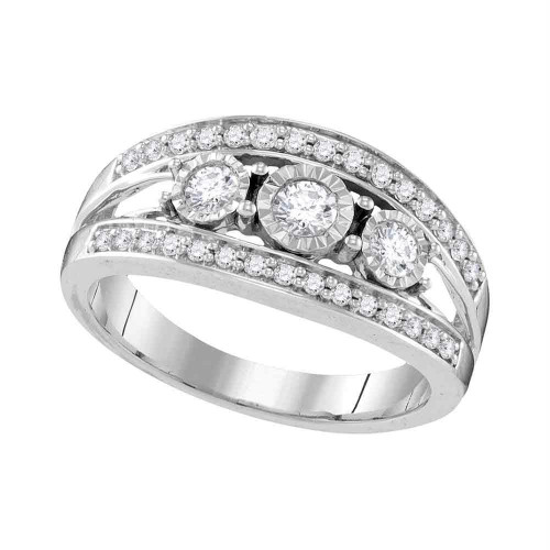 10kt White Gold Womens Round Diamond 3-stone Bridal Wedding Engagement Ring 1/2 Cttw - 109555-7.5