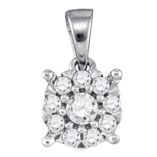 14kt White Gold Womens Round Diamond Flower Cluster Pendant 1/4 Cttw - 76107