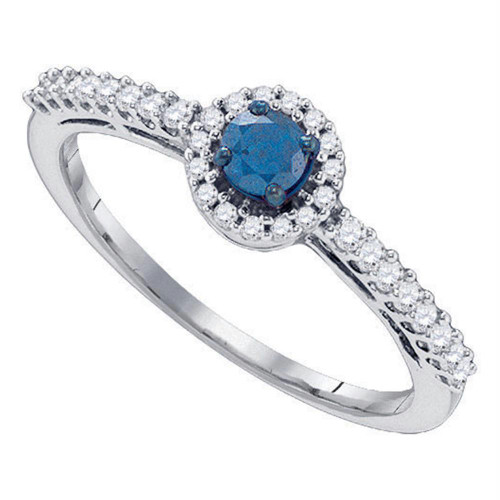 10kt White Gold Womens Round Blue Color Enhanced Diamond Solitaire Halo Bridal Wedding Engagement Ring 3/8 Cttw