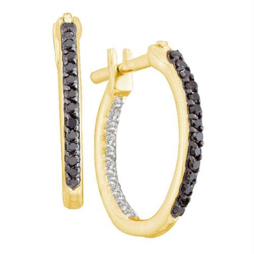 10k Yellow Gold Black Color Enhanced Diamond Womens Inside-Outside In Out Hoop Earrings 1/4 Cttw