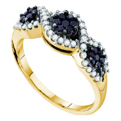 14kt Yellow Gold Womens Round Black Color Enhanced Diamond Flower Cluster Band Ring 1/2 Cttw
