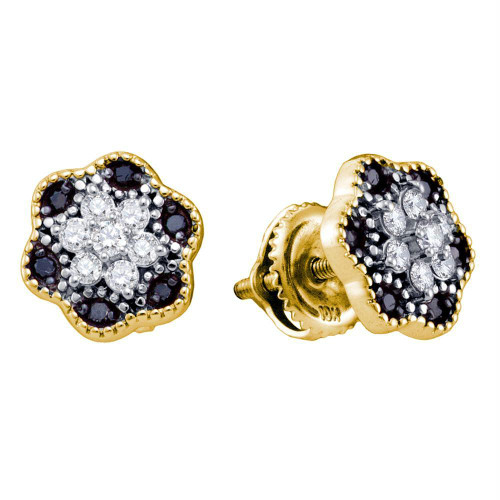 10k Yellow Gold Black Color Enhanced Diamond Womens Flower Cluster Stud Earrings 1/4 Cttw